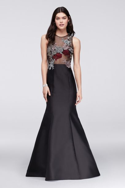 Mikado Trumpet Gown With Embroidered Illusion Top David