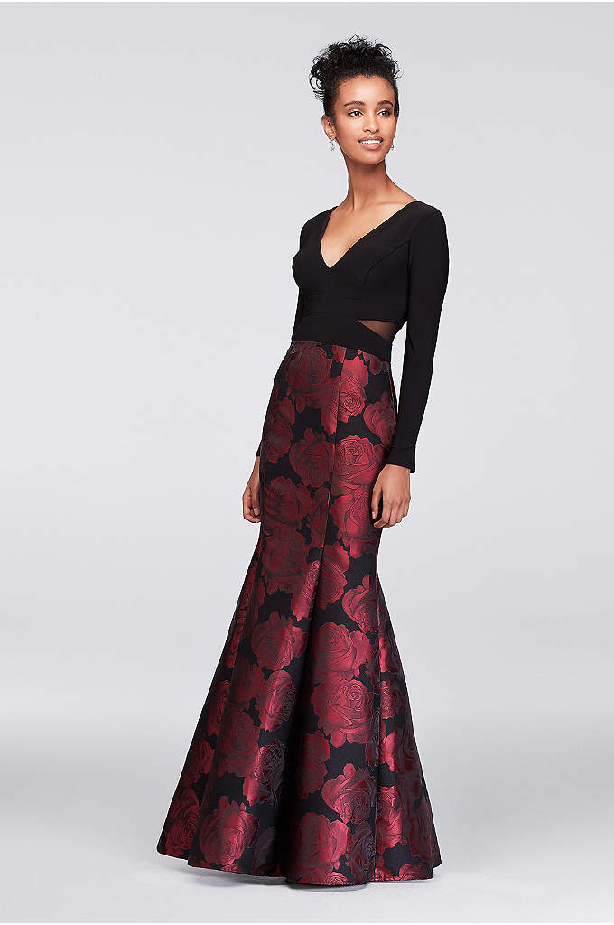 Long Sleeve Jersey and Brocade Mermaid Gown - Red roses bloom on the flared brocade skirt