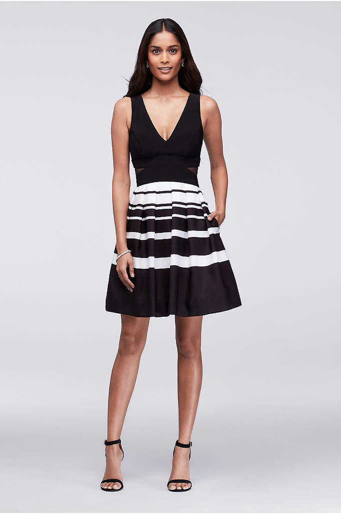 Striped Taffeta Cocktail Dress with Side Cutouts