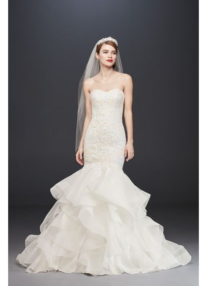 Long Scroll Lace Trumpet Wedding Dress - The structured organza skirt with a dramatic extended