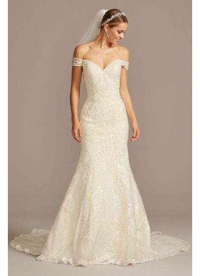 5ae3dda528aa1 Beaded Lace Off-the-Shoulder Mermaid Wedding Dress | David's Bridal