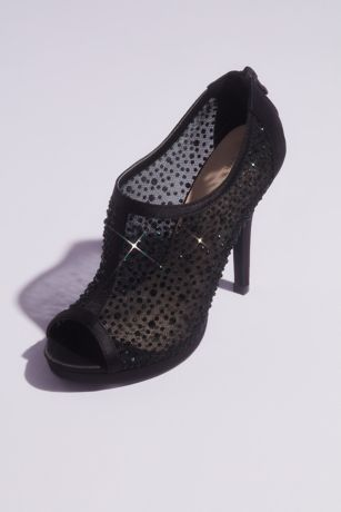 Blossom Black Heeled Sandals (Crystal and Illusion Mesh Open Toe Shootie Sandals)