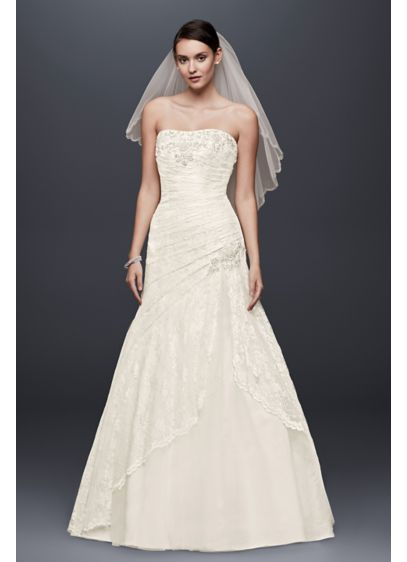 A Line Lace Wedding Dress With Side Split Detail David S Bridal