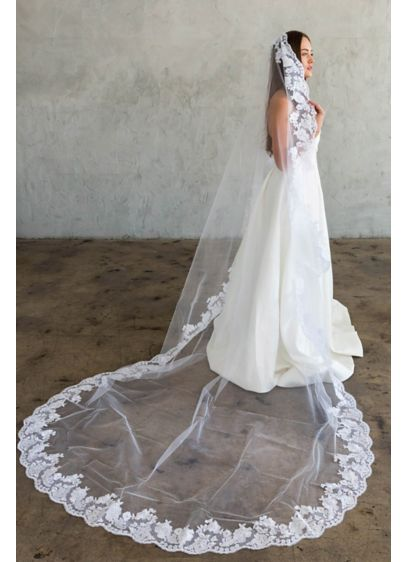 Hand-Sewn Wide Floral Lace Cathedral Veil - This beautiful tulle cathedral veil features hand-sewn and