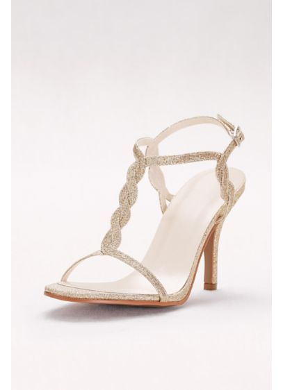 David's Bridal Grey (Glitter Braided T-Strap Heels)