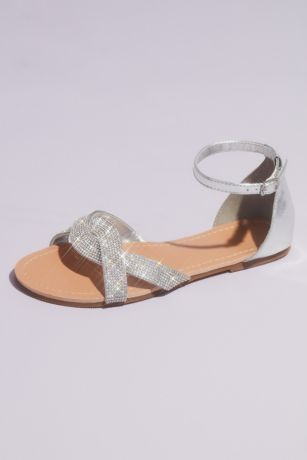 David's Bridal Grey Flat Sandals (Twisted Vamp Micro Crystal Flat Sandals)