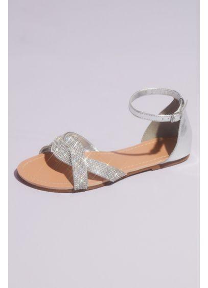 David's Bridal Grey (Twisted Vamp Micro Crystal Flat Sandals)