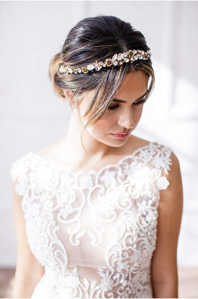 Faceted Crystal and 14k Gold Flower Halo Headband - Complete your wedding day look with this stunning