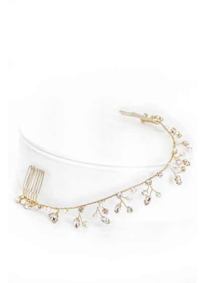 Pearl and Crystal Blossom Halo Comb - Wedding Accessories