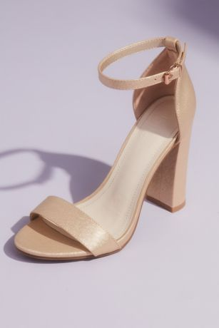 David's Bridal Beige;Grey;Ivory;Pink Heeled Sandals (Metallic Block Heel Sandals with Ankle Strap)