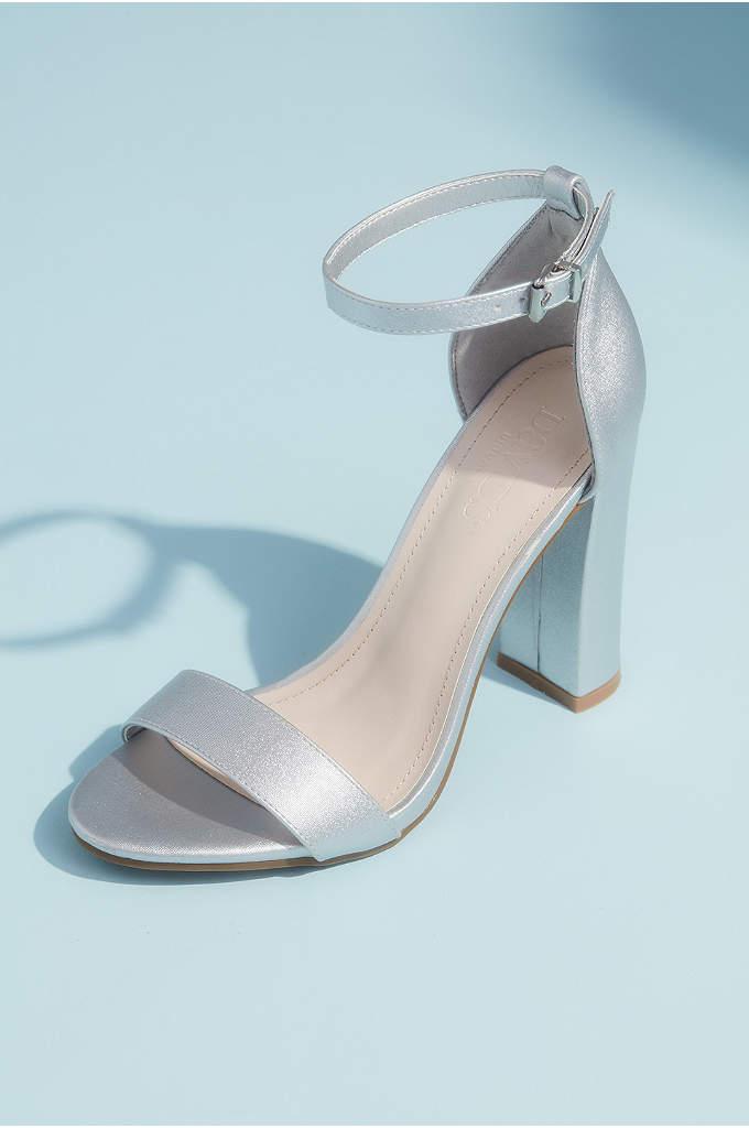 Metallic Block Heel Sandals with Ankle Strap