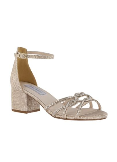Touch Ups Grey (Shimmery Block Heel Sandals with Strappy Vamp)
