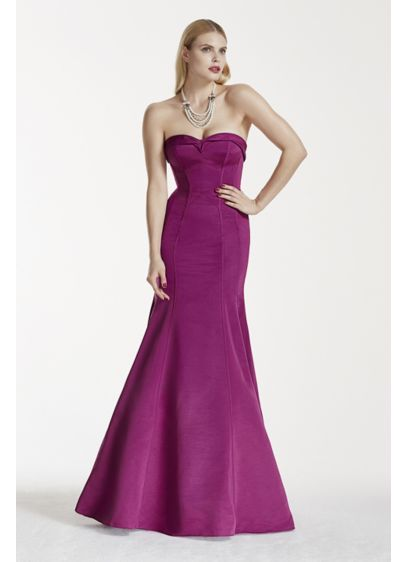 Long Purple Structured Truly Zac Posen Bridesmaid Dress