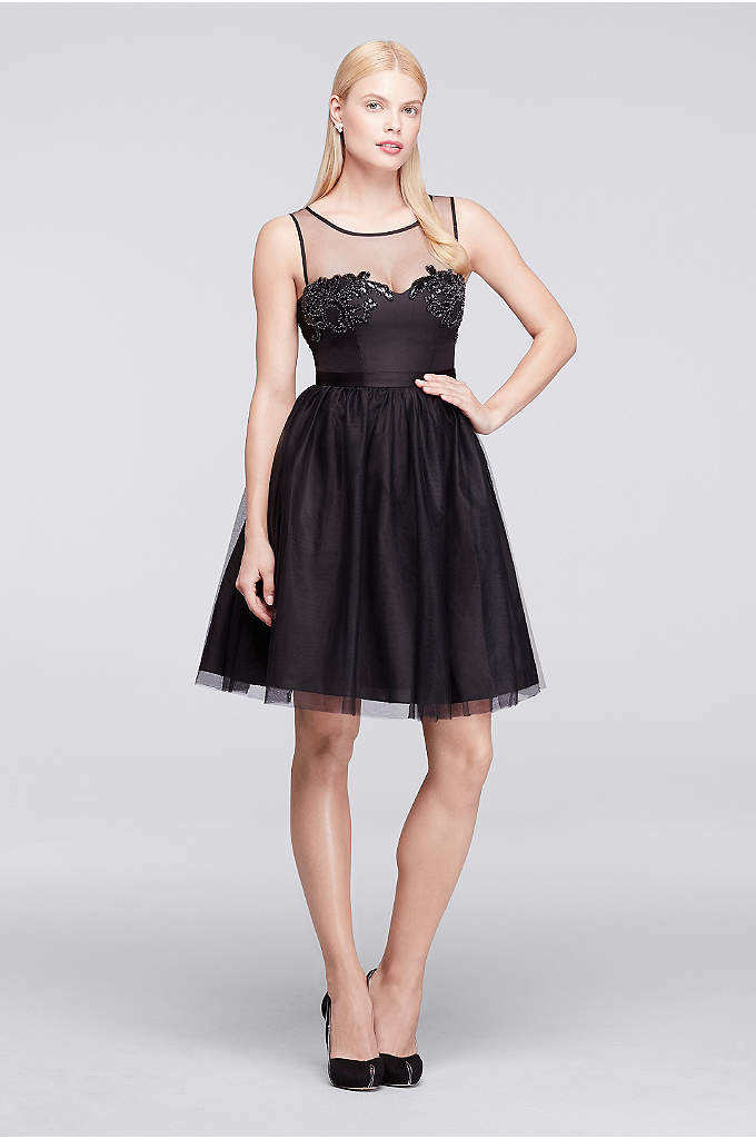 Short Sleeveless Tulle and Satin Party Dress