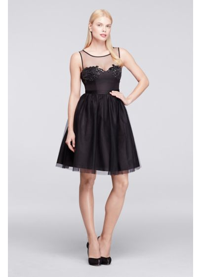 Short Black Soft Flowy Truly Zac Posen Bridesmaid Dress