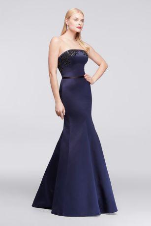 David's Bridal Blue Strapless Dresses