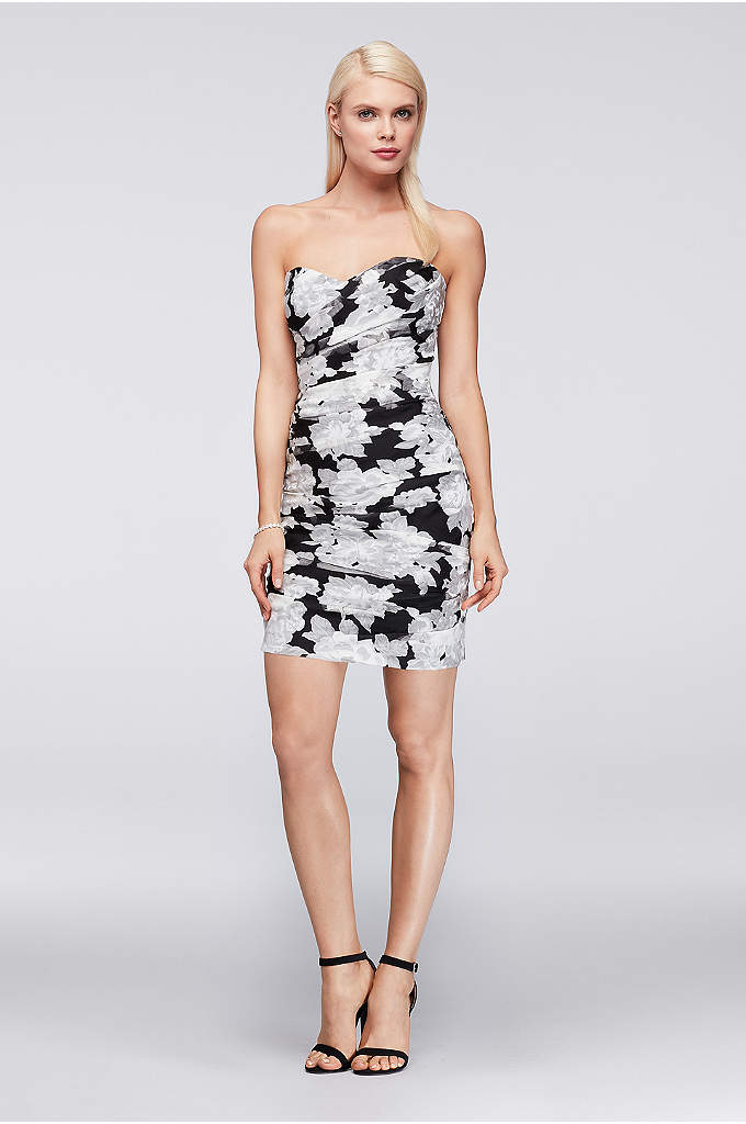 Printed Organza Ruched Mini Dress - Floral-printed organza is ruched into a figure-flattering mini