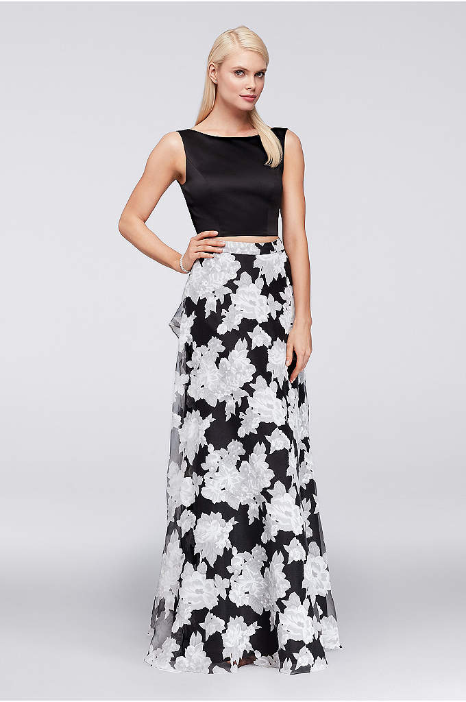 Satin Crop Top and Printed Organza Skirt Set - Perfectly coordinated, this low-back satin crop top and