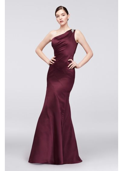 fa4c920b548 One-Shoulder Satin Trumpet Gown with Seaming. ZP281771. Long Mermaid/  Trumpet Wedding Dress - Truly Zac Posen