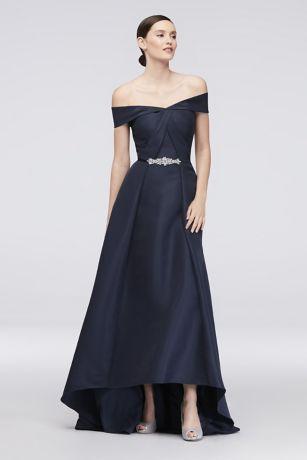 Embellished Waist Off-the-Shoulder Satin Ball Gown | David\'s Bridal