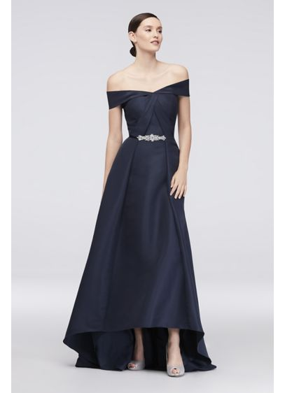 Embellished Waist Off-the-Shoulder Satin Ball Gown - An infinitely stylish satin ball gown, detailed with