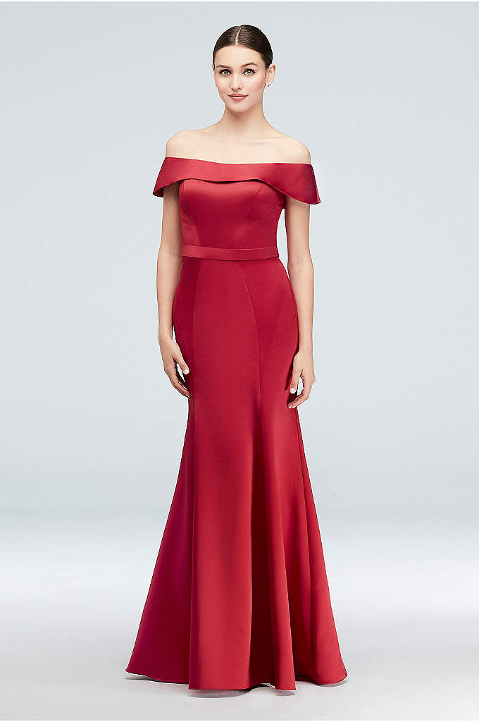Off-the-Shoulder Satin Gown with Tulle Flounce - Figure-flattering seaming, a Truly Zac Posen signature detail,