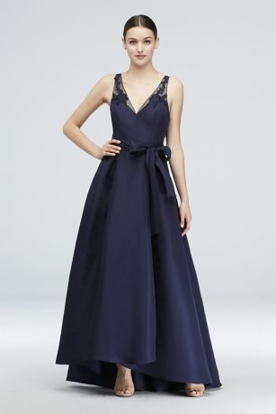 High Low Mikado A Line Gown With Illusion Straps Davids Bridal