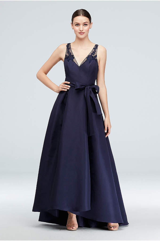 High-Low Mikado A-Line Gown with Illusion Straps - Simple in silhouette yet impactful in detail, this