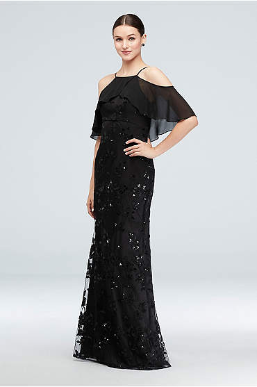 Chiffon Overlay Embroidered Tulle Sheath Gown