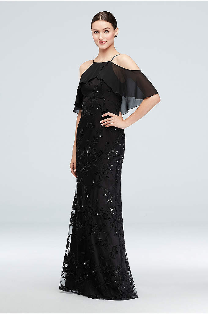 Chiffon Overlay Embroidered Tulle Sheath Gown - An embroidered and sequined tulle sheath dress is