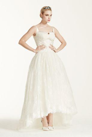 Truly zac posen lace high low tank wedding dress davids bridal junglespirit Image collections