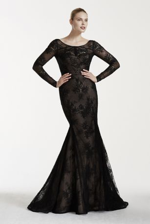 Black Long Lace Wedding Dresses