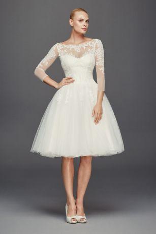 Truly Zac Posen 3/4 Sleeve Short Wedding Dress | David\'s Bridal