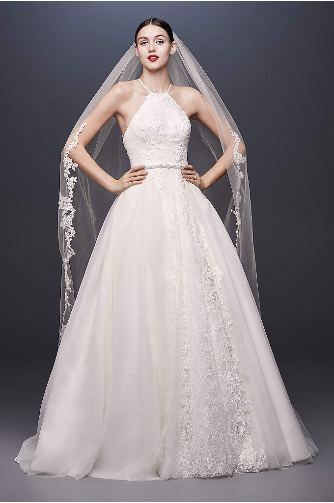 Halter-Tie Tulle Ball Gown Wedding Dress with Lace - This tulle and organza halter ball gown features