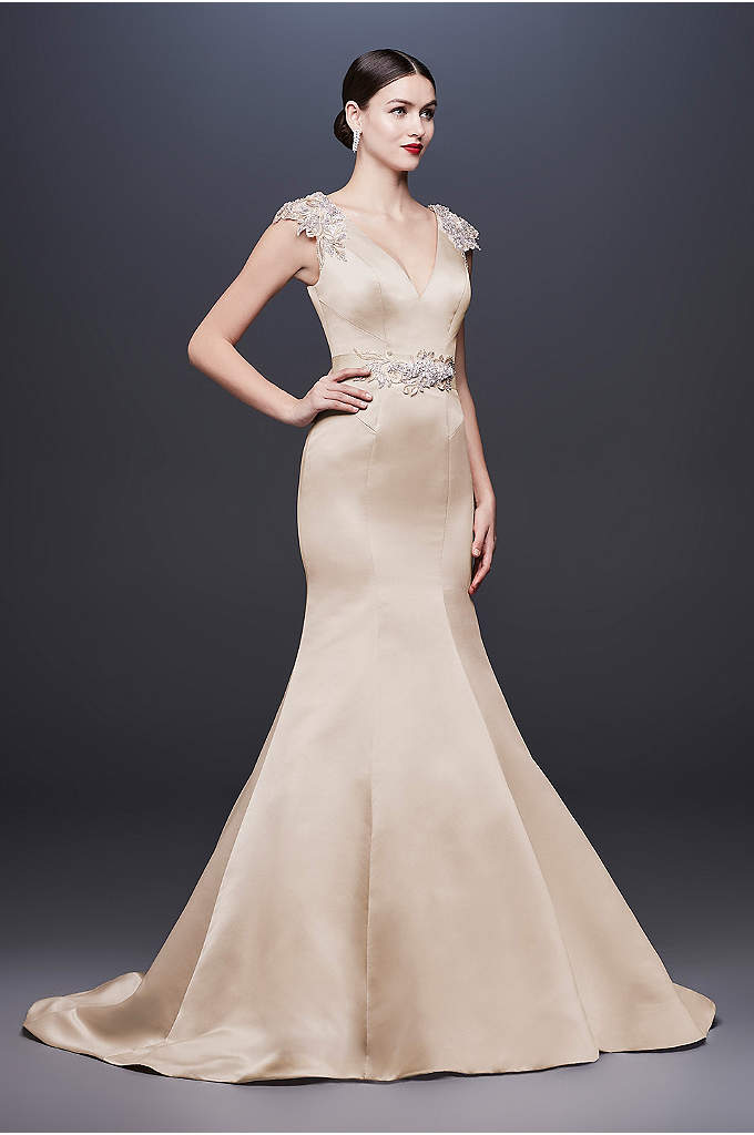 Cap Sleeve Satin Mermaid Wedding Dress with V-Neck - It doesn't get any more glamorous than this