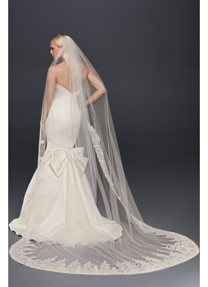 Truly Zac Posen Metallic-Edged Cathedral Veil - Wedding Accessories