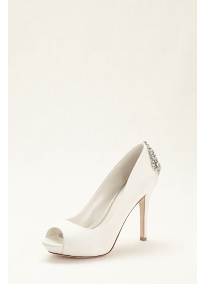 Truly Zac Posen Ivory (Satin Peep Toe Pump with Jeweled Embellishment)