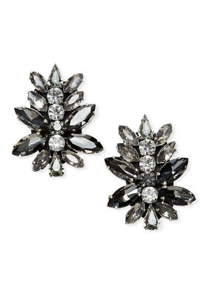 Crystal Geometric Linear Drop Earrings - Wedding Accessories