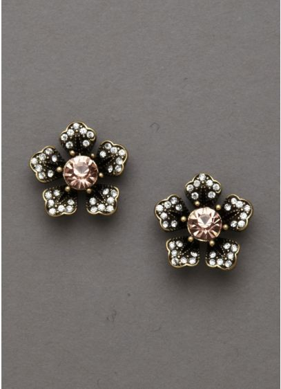 Topaz and Crystal Floral Earrings - Wedding Accessories