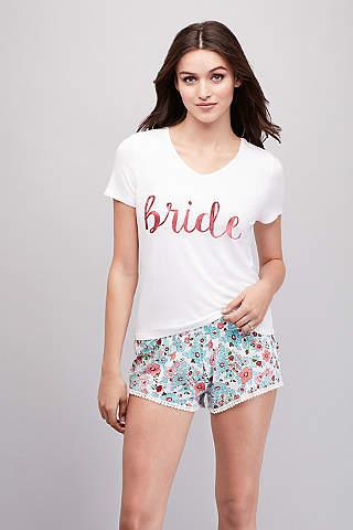 Set de Pijama Floral de Jersey Para Novia