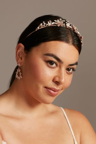 Crystal and Pearl Wire Tiara with Blooming Flowers