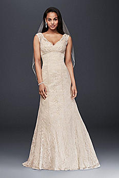 All Over Beaded Lace Trumpet Wedding Dress T9612