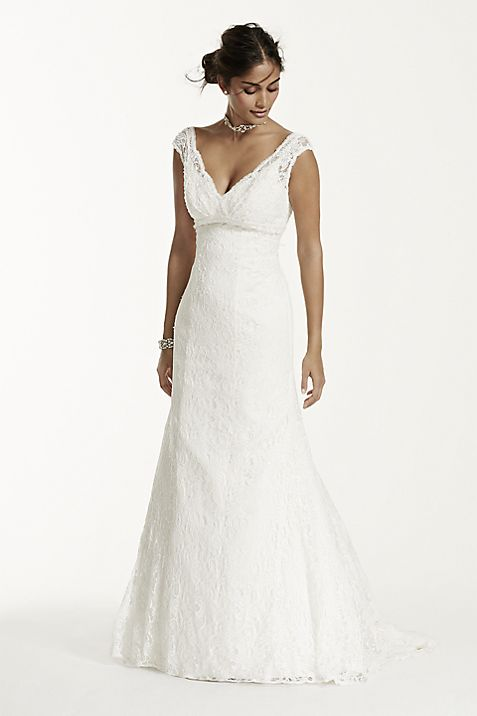 Beaded Lace Trumpet Gown | David\'s Bridal