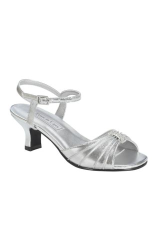 "Touch Ups Grey Flowergirl Shoes (Talia Girl""s Silver Metallic Sandal by Touch Ups)"