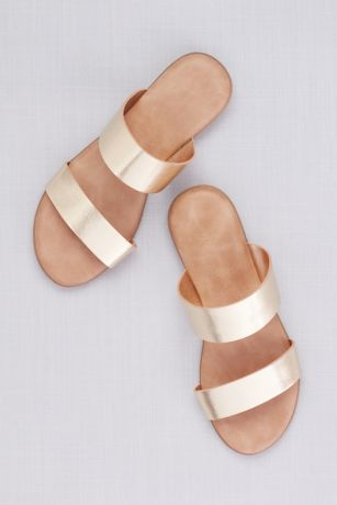 Metallic Two Strap Slide Sandals