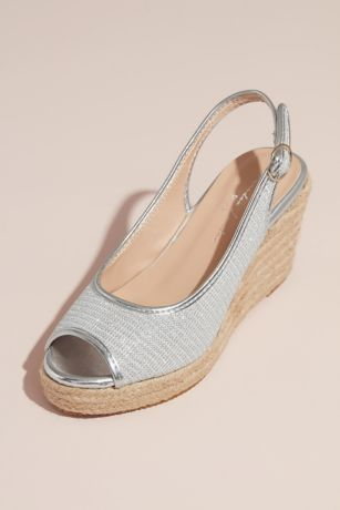 Pink Paradox Grey;Ivory Heeled Sandals (Glitter Peep-Toe Jute Espadrille Wedges)