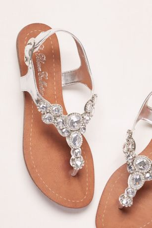 Grey Flat Sandals (T-Strap Sandal with Halo Crystals)