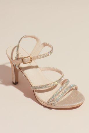 Blossom Beige;Black;Grey Heeled Sandals (Pave Crystal Straps Glitter Platform Sandals)