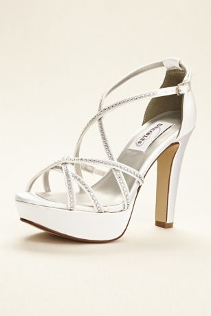 Dyeables White Sandals (Dyeable Strappy Platform Sandal with Crystals)