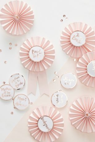 Rose Gold Bridal Party Badge Set of 6